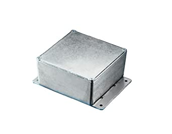 "BUD Industries CU-4476-B Die Cast Aluminum Econobox with Mounting Bracket, 6"" Length x 3-1/4"" Width x 2"" Height, Black Powdercoat Finish"