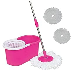 Pink Color Easy Life Easy Mop 360° Magic Mop 360 DEGREE ROTATING FAST SPINDRY 2 MOP HEADS-By Gadgetbucket