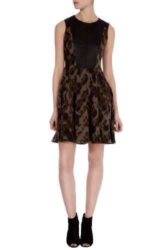 Camouflage and Faux Leather Dress