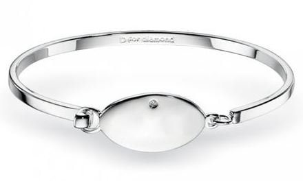 D For Diamond Children's Sterling Silver Bangle- Zoe Kay Jewellery