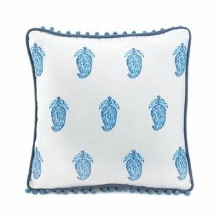 Home Decor Square Blue Paisley Pillow - 1
