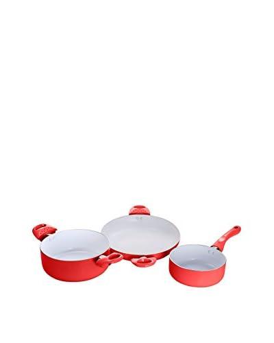 Ceramic Batería De Cocina 3 Piezas Roja