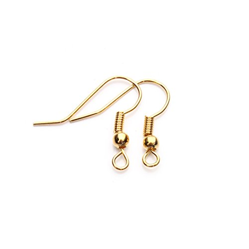 Linsoir Beads Iron Wire Earring Hooks with Large Loop Packed of 200 Gold Plated (Nickle Free Earring Hooks compare prices)