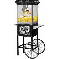 Funtime FT860CB Antique Carnival-Style 8-Ounce Hot-Oil Popcorn Popper with Cart, Black