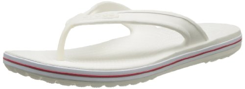 Crocs Unisex-Adult Crocband Flip Low Profile Thong Sandals 15690-119-192 White/Red 8 UK, 42 EU, 8 US, Regular