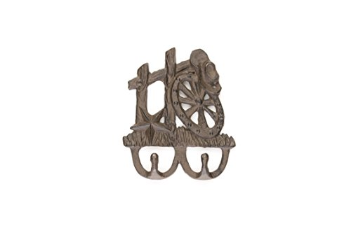 Western Cast Iron 2-hook Coat Hook | Wagonwheel Hat & Star | Vintage Design | Rustic Design | Western Wall Decor
