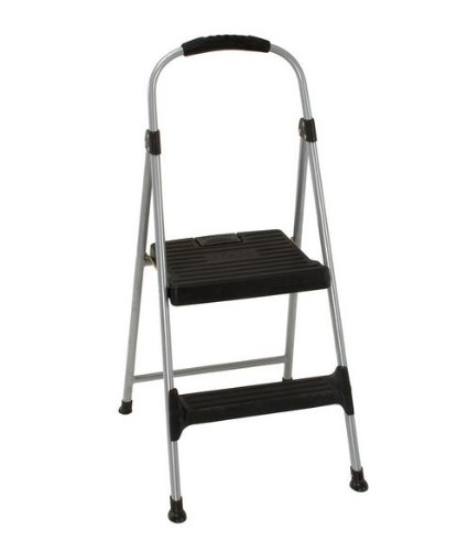 "Aluminum Step Stool, 2-Step, 225Lb, 18 9/10"" Working Height, Platinum/Black front-1034155"