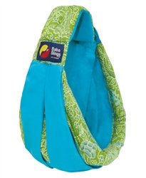 Baba Slings Boutique Baby Carrier, Turquoise/Green Batik