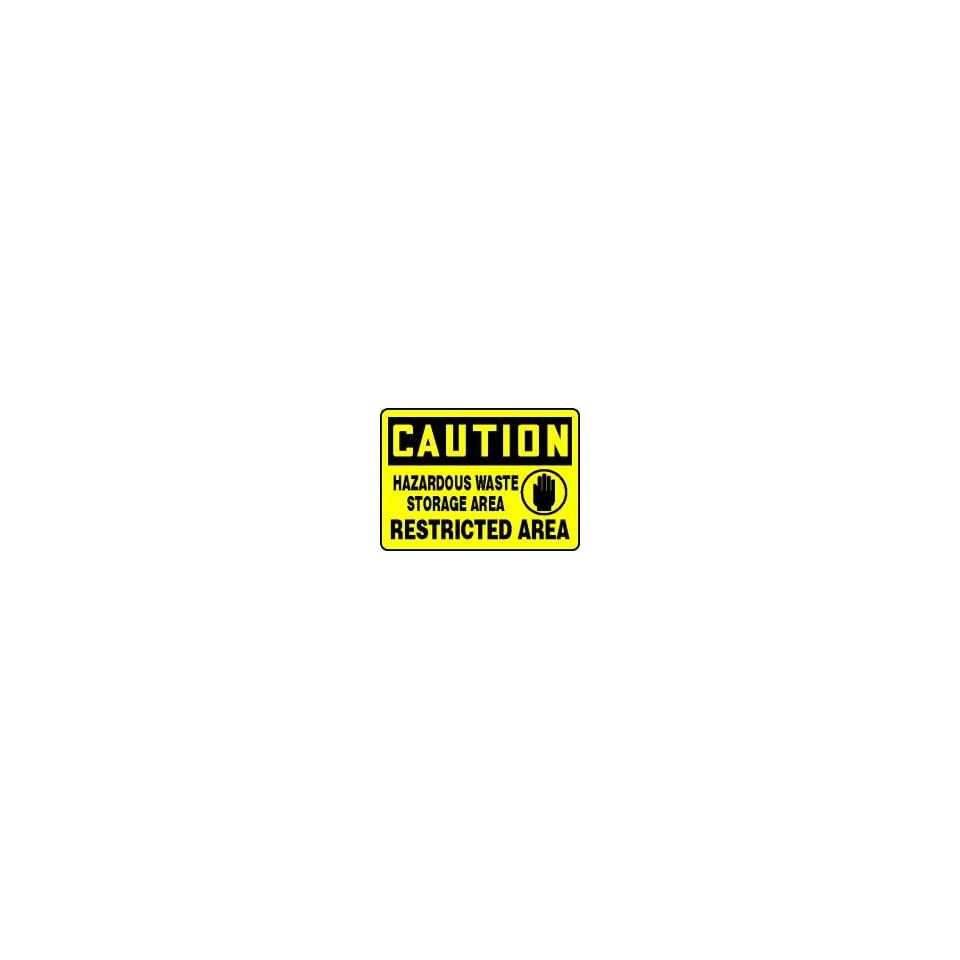 CAUTION HAZARDOUS WASTE STORAGE AREA RESTRICTED AREA (W/GRAPHIC) Sign   10 x 14 .040 Aluminum