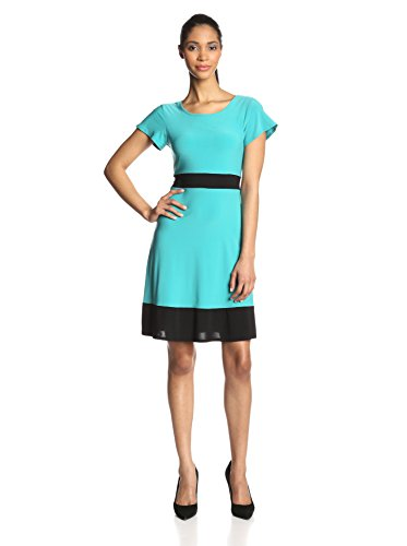 B00HD6NJN4 Star Vixen Women's Colorblock Short Sleeve Skater Dress, Jade/Black, X-Large