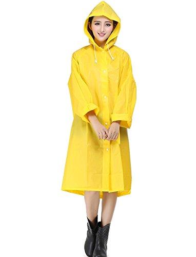 Pacyer® Donna EVA Giacca Impermeabile antipioggia con cappuccio Mantella poncho Pieghevole Giacca da pioggia con taschino (M, Giallo)