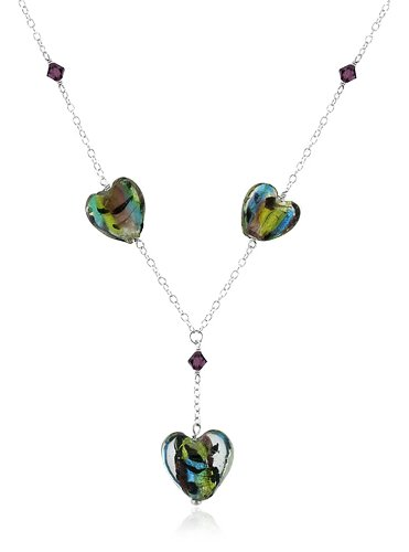 Sterling Silver and Multi-Color Hand Blown Glass Heart Necklace, 16+3