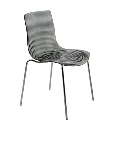 LeisureMod Astor Modern Dining Chair, Transparent Black
