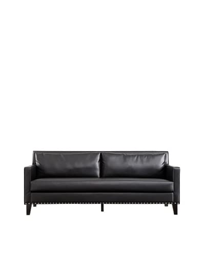 Armen Living Dallas Sofa with Leather and Cowhide Side Panels, Black