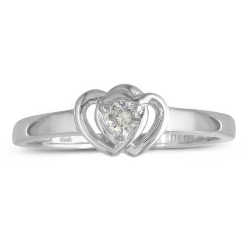 Diamond Heart Promise Ring Crafted in Sterling Silver .07ct