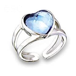 Jewelry - Heart Aquamarine Swarovski Crystal Ring SZ 5