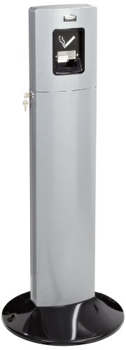 Rubbermaid Commercial FGR93400SM 1.6-Gallon Metropolitan Smokers Station, Round, Silver Metallic