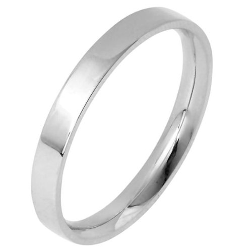 10K White Gold, Flat Comfort Fit Wedding Band 2.5MM (sz 4)