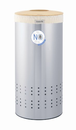 Brabantia 375286 Laundry Basket 30 Litres Fingerprint Proof Stainless Steel with Woodline Wooden Lid