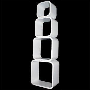 mojoliving 021 Mojo - Estantería (4 módulos cúbicos apilables, se puede fijar a pared), color blanco