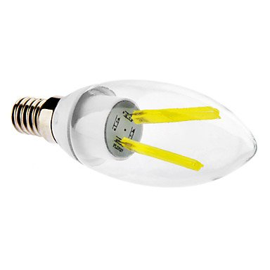 M.M E14 2W 6000K Cool White Light Led Transparent Candle Bulb (230V)