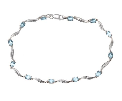 0.02 Carat I Diamond 4 Claw Setting Link Bracelet in 9ct White Gold
