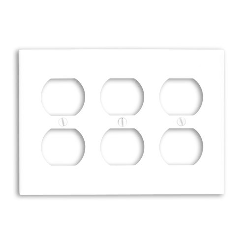 Leviton 88030 3-Gang Duplex Device Receptacle Wallplate, Standard Size, Thermoset, Device Mount, White