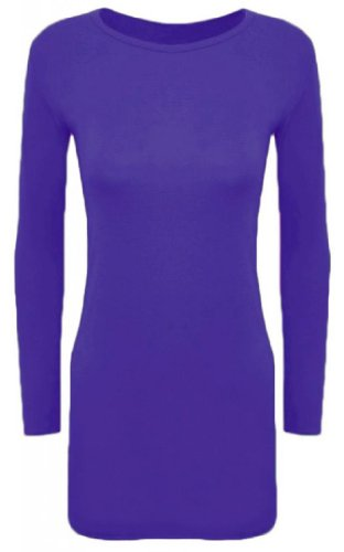 Hot Hanger Ladies Long Sleeve Bodycon Short Mini Dress Womens Top (8-10 SM, Purple) (Daphne Costume)