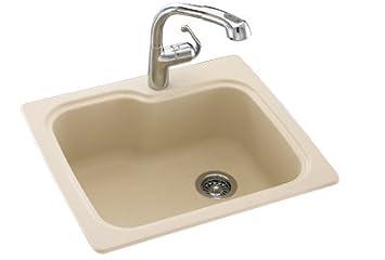 Swanstone KSSB-2522.042 25-Inch by 22-Inch Single Bowl Kitchen Sink, Gray Granite