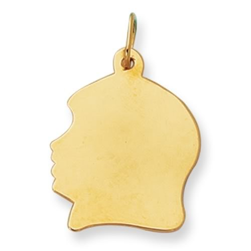 14K Yellow Gold Girl's Head Charm