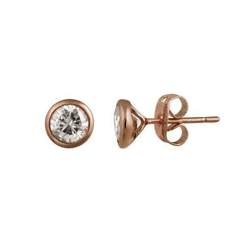 Rose Gold Plated Silver Bezel Martini Set Cubic Zirconia Stud Earrings