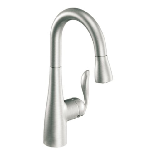 Great Deal! Moen 5995CSL Arbor One-Handle High Arc Pulldown Single Mount Bar Faucet, Classic Stainless