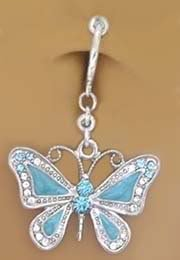 Fake Belly Navel Non Clip On Piercing Aqua Lt Blue Butterfly Dangle Ring