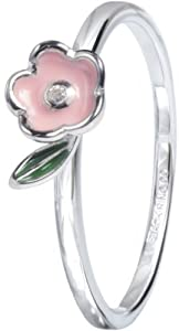 Stack Ring Co Sterling Silver Rhodium Plated Pink & Green Enamel Flower and Leaf Stack Ring - Size P 1/2
