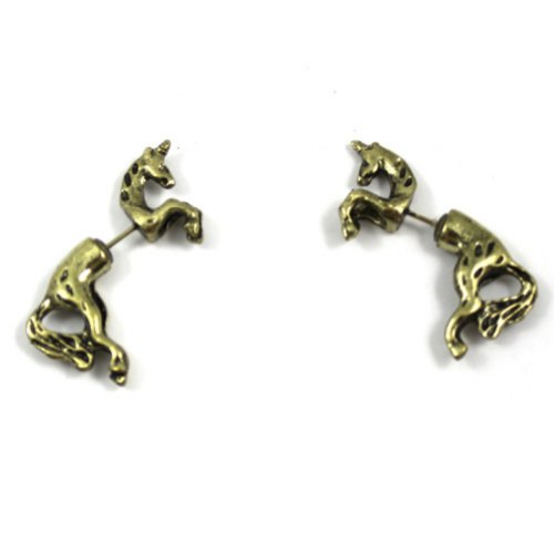 Zehui 1 Pair Cool Rock Punk Cute Unicorn Horse Ear Stud Wrap Earring Antique Bronze