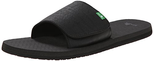 Sanuk Men's Beer Cozy Light Slide Dress Sandal, Blackout, 12 M US