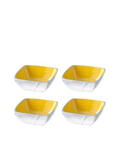 Shiraleah Set of 4 Yellow Pop Square Snack Bowls