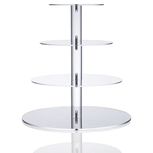 Utenlid Acrylic 4-Tier Round Stacked Party Cupcake Stand with Stable Screw-On Pillars - Tiered Cupcake Stand / Cupcake Tower