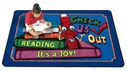 "Joy Carpets Kid Essentials Language & Literacy Check Us Out Rug, Multicolored, 5'4"" x 7'8"""