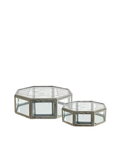 Set of 2 Glass Jewelry Boxes