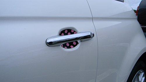 Black and Pink Polka Dots Car Auto Accessory Door Handle Trim Molding Scratch Protector 2 Door Pack (Pink Door Handle Trim compare prices)