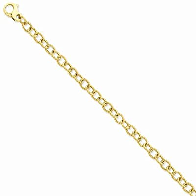 """Solid 14k Yellow Gold 6.5mm Polished Fancy Unique Link Bracelet - with Secure Lobster Lock Clasp 8.5"""""""