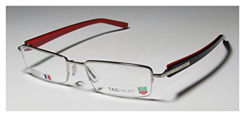 Tag Heuer 8203 Mens/Womens Prescription Ready Designer Half-rim Eyeglasses/Spectacles (53-18-140, Silver / Black / Red)