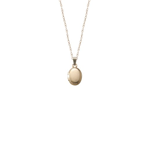 Children's 14k Gold-Filled Beaded Edge Oval Locket Necklace, 13