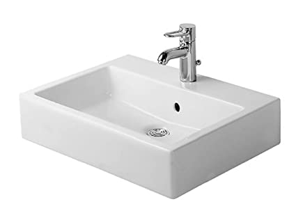 Duravit 04546000301 Vero 23-5/8-Inch Three-Hole Wash Basin, White Finish