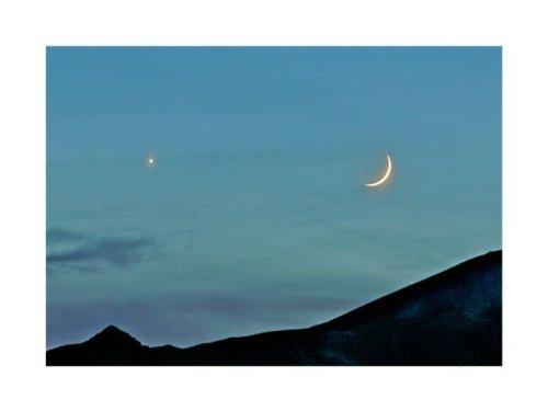 Crescent Moon and Venus by John K. Nakata