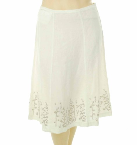 Eileen Fisher Organic Linen Knee Length Panel Skirt White Medium