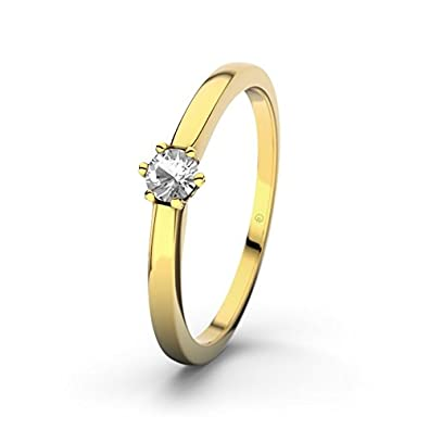 21DIAMONDS Seoul Engagement Ring Brilliant Cut White Topaz 14 carat (585) Yellow Gold Ladies Engagement Ring