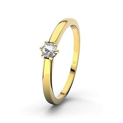 21DIAMONDS Seoul Engagement Ring Brilliant Cut White Topaz 14carat (585) Yellow Gold Ladies Engagement Ring