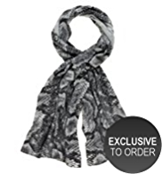 M&S Collection Pure Cashmere Faux Snakeskin Print Scarf